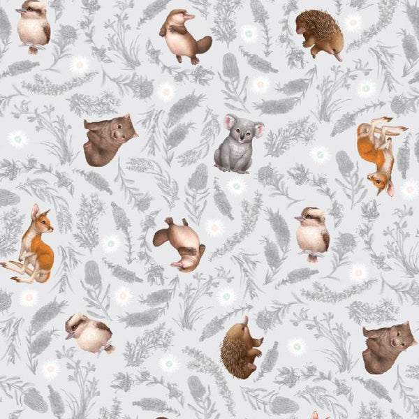 Little Aussie Friends- Grey- Small Animals- 100% COTTON