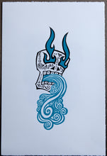 Load image into Gallery viewer, LA CALAVERA - THE SKULL - Screen Print Blue / Red