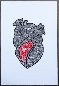 EL CORAZÓN - THE HEART - Screen Print Blue / Red
