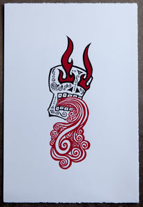 LA CALAVERA - THE SKULL - Screen Print Blue / Red