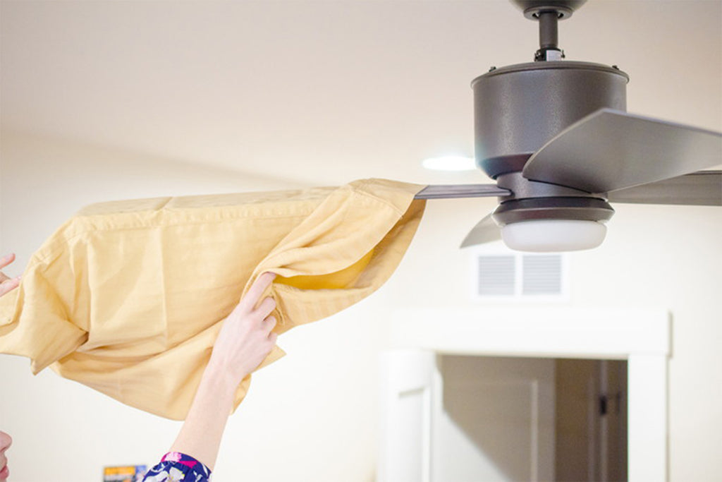 Hack#4: Ceiling Fan Woes? Use Pillow Cover!