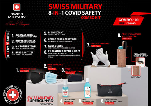 SWISS MILITARY 8-IN-1 COVID SAFETY COMBO KIT