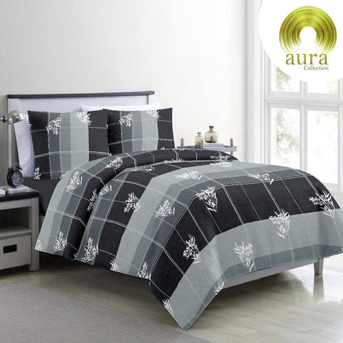 Aura Lines Paddy King Size Cotton Bed Sheet (275 x 305 cm) - SleepCosee