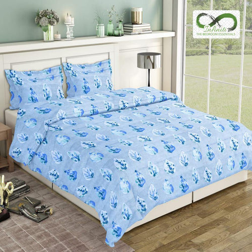 Infinite Single Leaf Pure Cotton King Size Bed Sheets (275x275 cm) - SleepCosee
