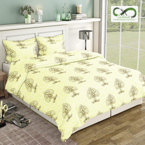 Infinite Pine Tree Pure Cotton King Size Bed Sheets (275x275 cm) - SleepCosee