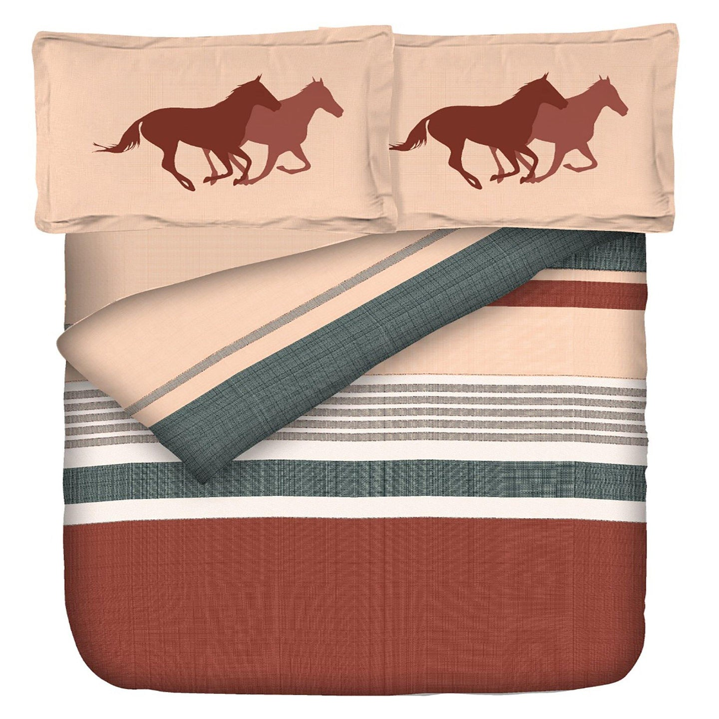 Aura Pony Horse Ride King Size Cotton Bed Sheet (108 x 120 inch) - SleepCosee