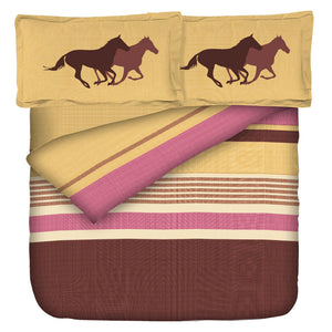 Aura Pony Horse Ride King Size Cotton Bed Sheet (275 x 305 cm) - SleepCosee