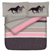 Load image into Gallery viewer, Aura Pony Horse Ride King Size Cotton Bed Sheet (275 x 305 cm) - SleepCosee