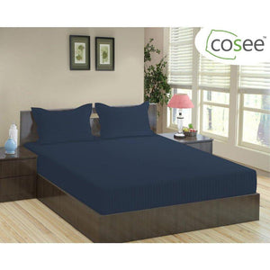 Satin Stripe Cotton Bed Sheet (King Size / 275x275 cm) - SleepCosee
