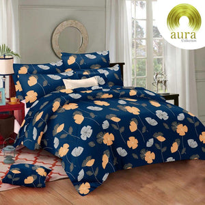 Aura Hibiscus Flower King Size Cotton Bed Sheet (275 x 305 cm) - SleepCosee
