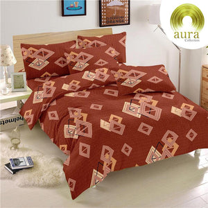 Aura Stacked Squares King Size Cotton Bed Sheet (275 x 305 cm) - SleepCosee