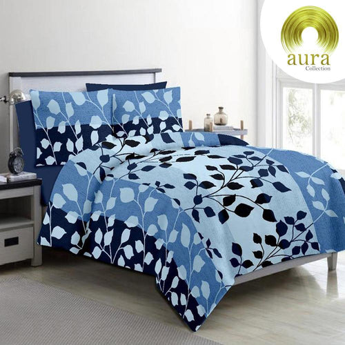 Aura Striped Leaf King Size Cotton Bed Sheet (275 x 305 cm) - SleepCosee