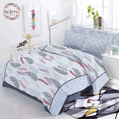 Selene Cozy Pine  Cotton King Size Bed Spread (275 x 305 cm) - SleepCosee