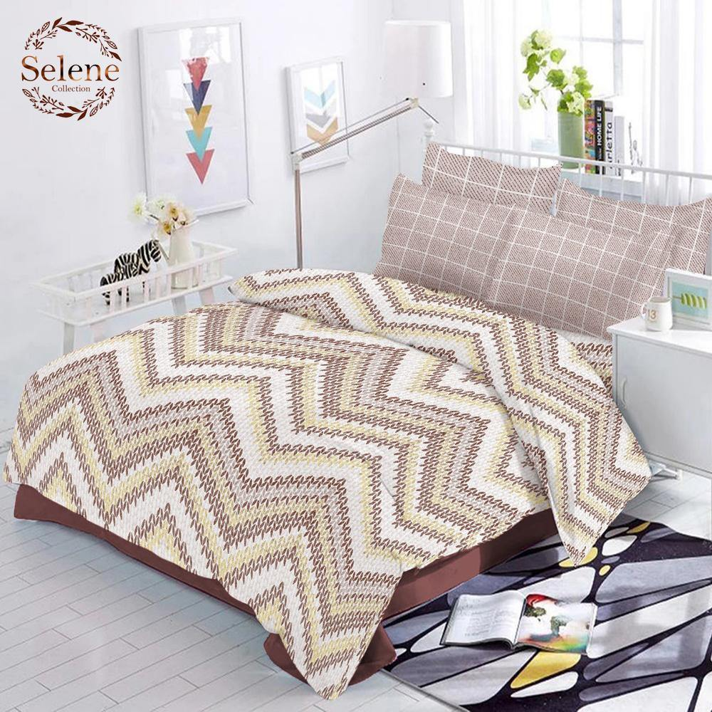Selene ZigZag Cotton King Size Bed Spread (108 x 107 inch) - SleepCosee