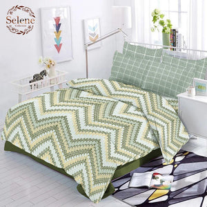 Selene ZigZag Cotton King Size Bed Spread (275 x 305 cm) - SleepCosee