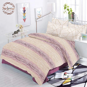 Selene Shaded Stripe Cotton King Size Bed Spread (275 x 305 cm) - SleepCosee