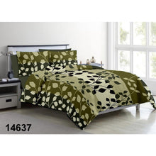 Load image into Gallery viewer, Aura Striped Leaf King Size Cotton Bed Sheet (275 x 305 cm) - SleepCosee