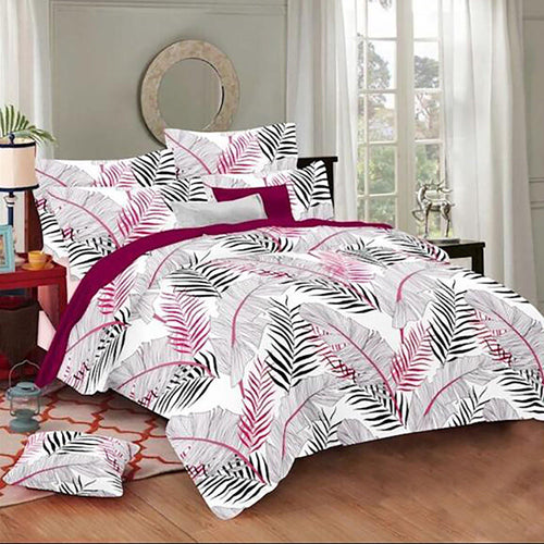 Selene Huge Leaf Cotton King Size Bed Spread (275 x 305 cm) - SleepCosee