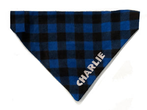 Blue Plaid Personalized Dog Bandana