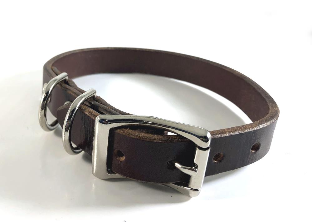 3/4 Inch Wide Quality Bridal Leather Collar - Black or Brown - For Small Puppers