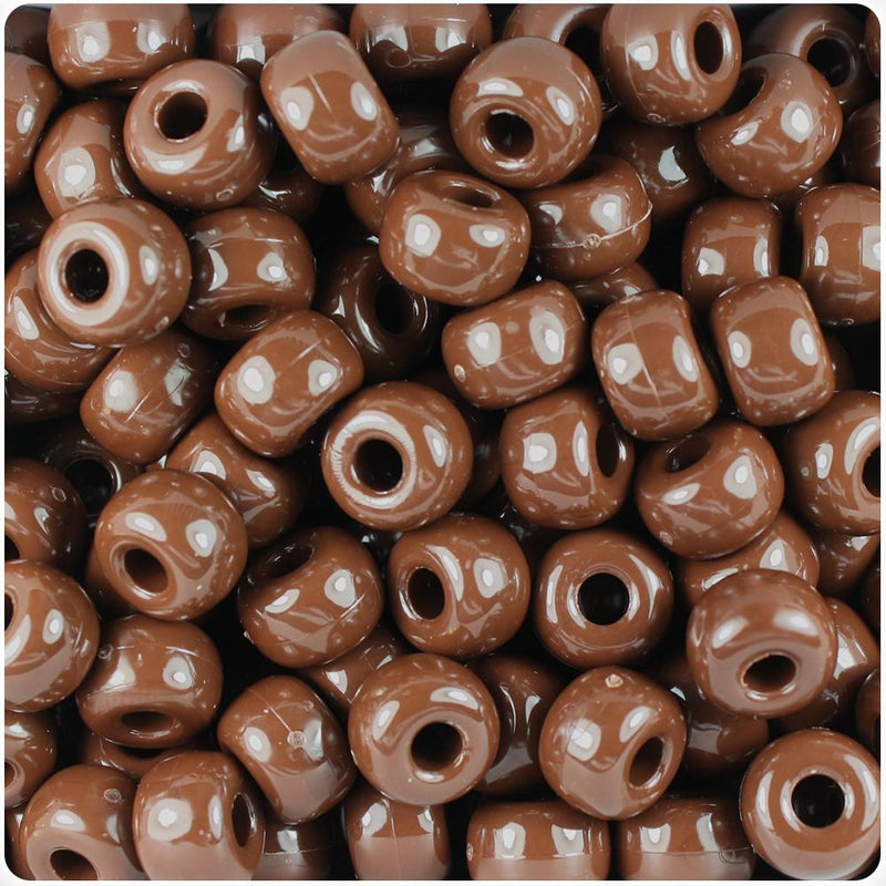 Chocolate Opaque 11mm Large Barrel Pony Beads (50pcs)