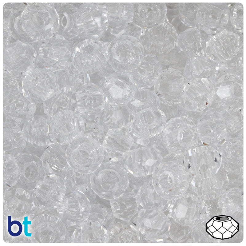 Crystal Transparent 10mm Squatty Bicone Plastic Beads (30pcs)