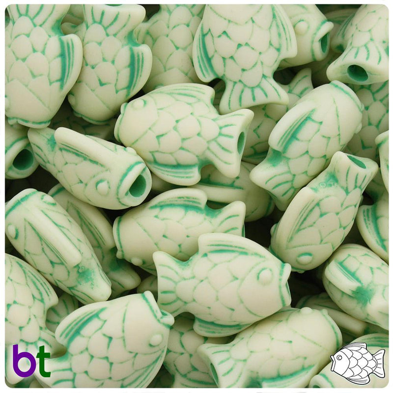 Ivory w/Green Antique 24mm Fish Pony Beads (10pcs)