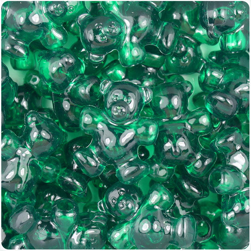 Emerald Transparent 25mm Teddy Bear Pony Beads (24pcs)
