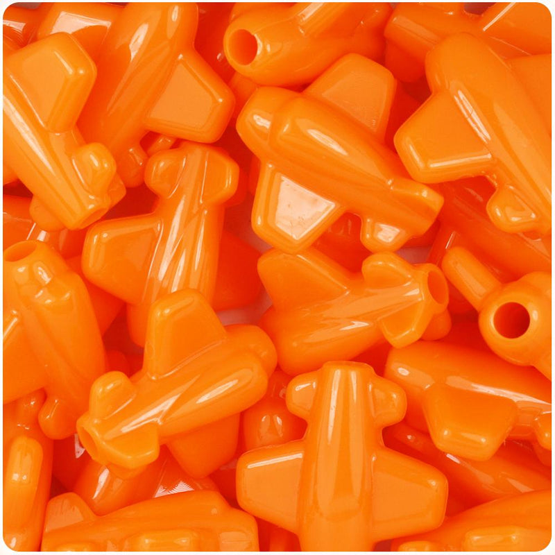 Orange Opaque 25mm Airplane Pony Beads (10pcs)