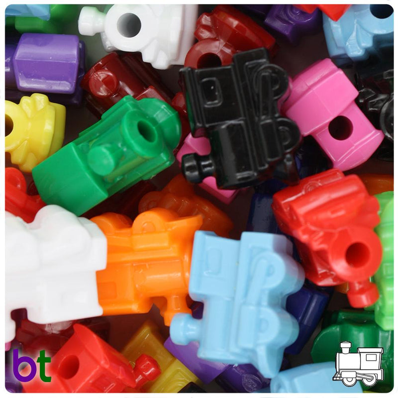 Opaque Mix 22mm Train Pony Beads (10pcs)