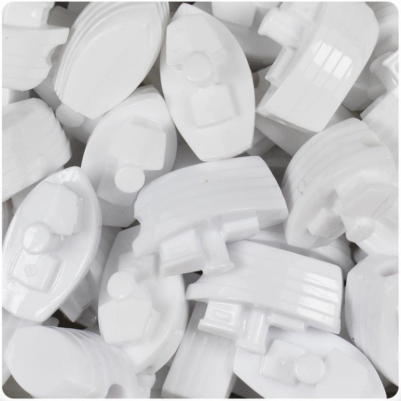 White Opaque 25mm Boat Pony Beads (10pcs)