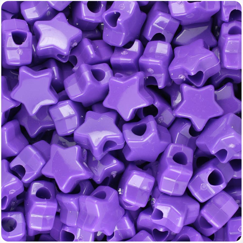 Dark Lilac Opaque 13mm Star Pony Beads (50pcs)