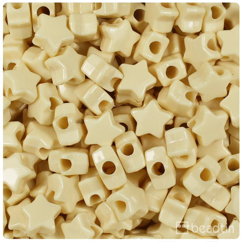Ivory Opaque 13mm Star Pony Beads (50pcs)
