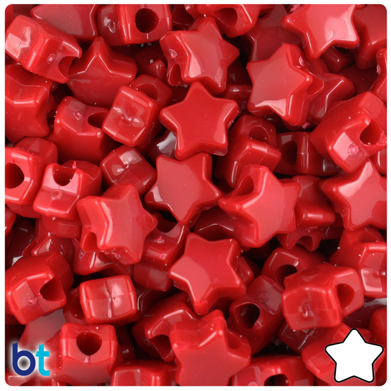 Red Opaque 13mm Star Pony Beads (50pcs)
