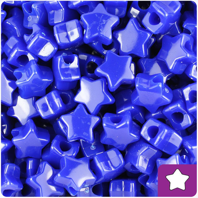 Royal Blue Opaque 13mm Star Pony Beads (50pcs)