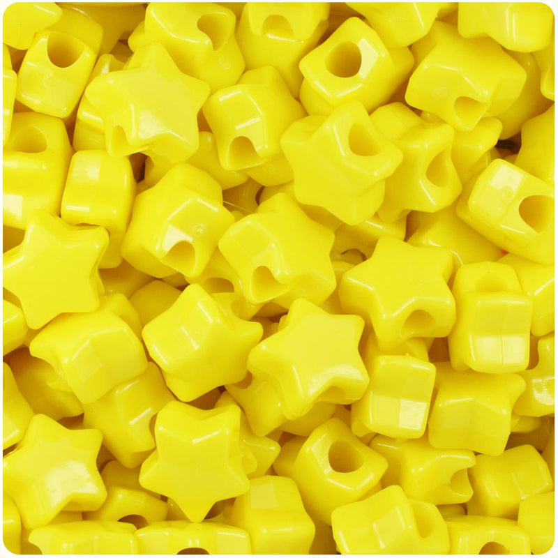 Yellow Opaque 13mm Star Pony Beads (50pcs)