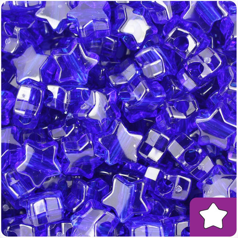 Midnight Transparent 13mm Star Pony Beads (50pcs)