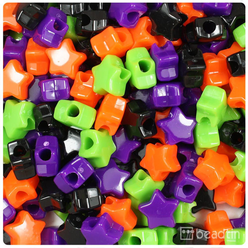 Halloween Mix Opaque 13mm Star Pony Beads (50pcs)