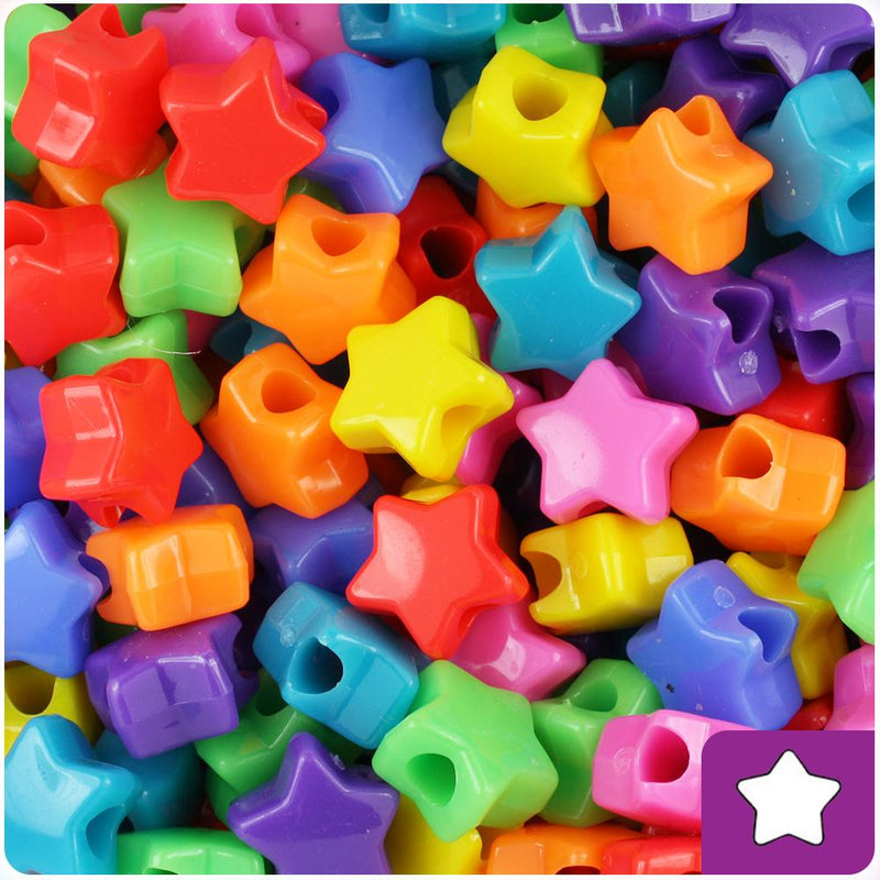 Circus Mix Opaque 13mm Star Pony Beads (50pcs)