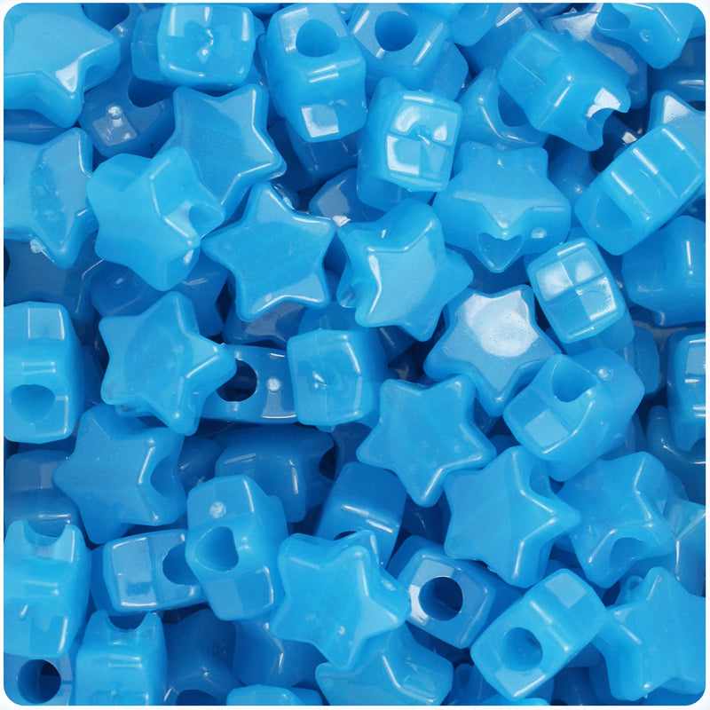 Blue Glow 13mm Star Pony Beads (50pcs)