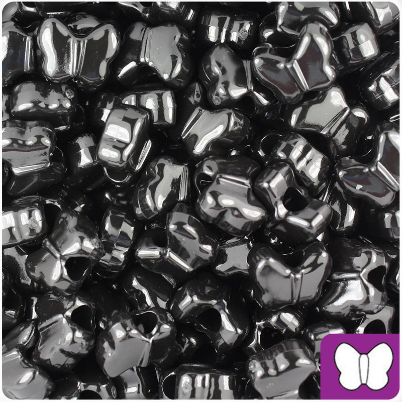 Black Opaque 13mm Butterfly Pony Beads (50pcs)