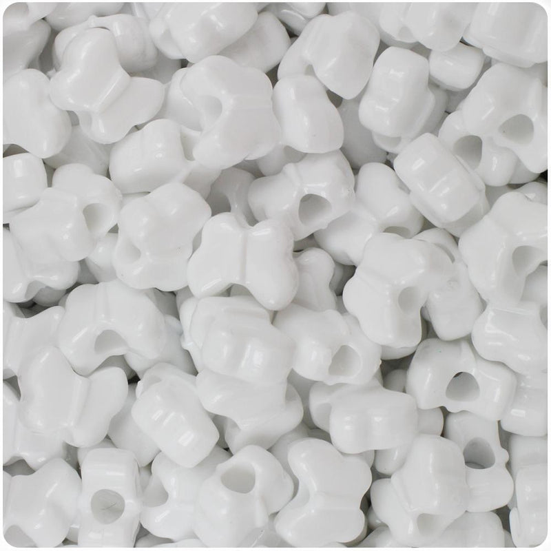 White Opaque 13mm Butterfly Pony Beads (50pcs)