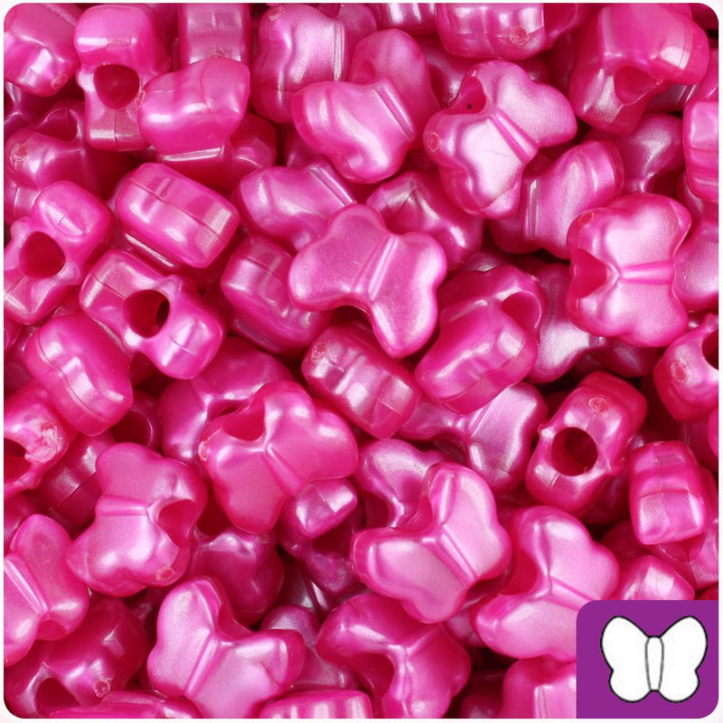 Hot Pink Pearl 13mm Butterfly Pony Beads (50pcs)
