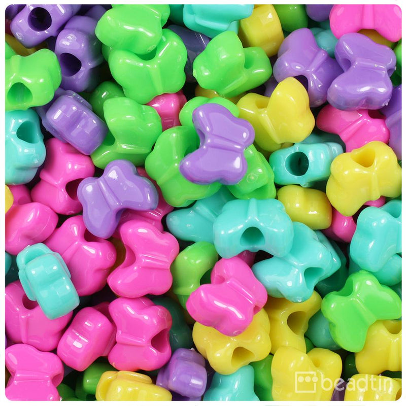 Candy Mix Opaque 13mm Butterfly Pony Beads (50pcs)