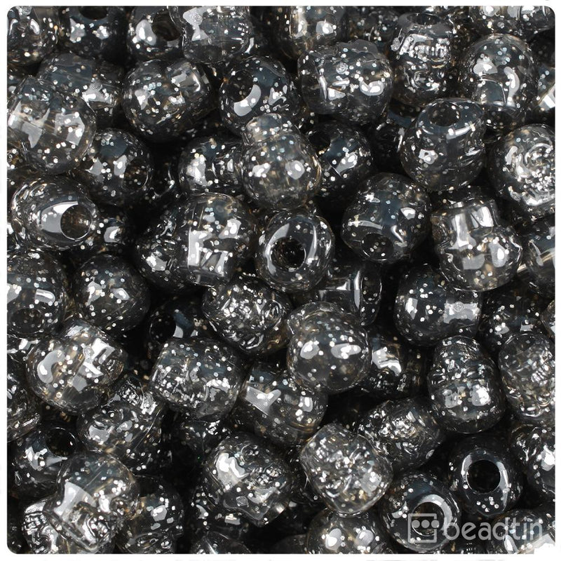 Jet Sparkle 11mm Skull Pony Beads (30pcs)