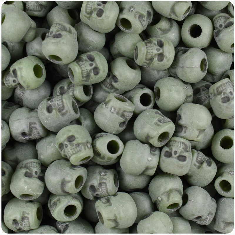 Jade Antique 11mm Skull Pony Beads (30pcs)