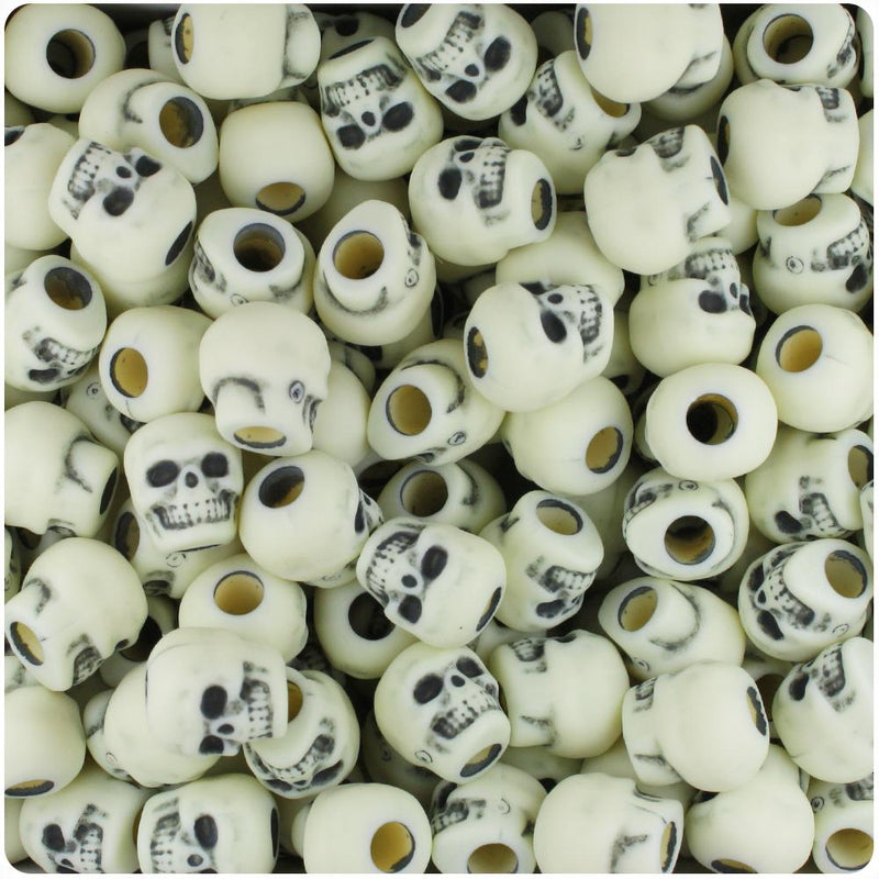 Ivory Antique 11mm Skull Pony Beads (30pcs)