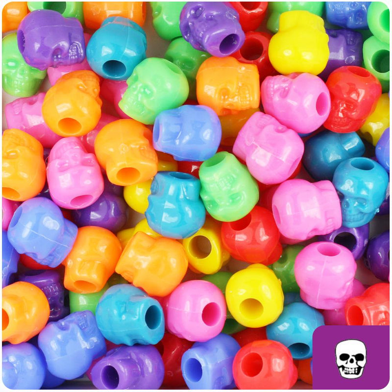 Circus Mix Opaque 11mm Skull Pony Beads (30pcs)