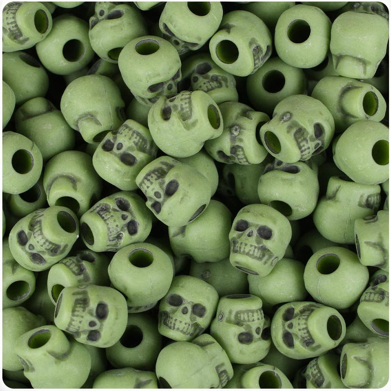Olive Antique 11mm Skull Pony Beads (30pcs)