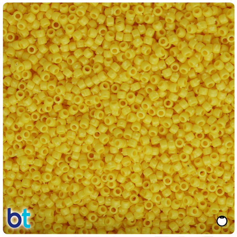 Yellow Opaque 2.5mm Round Plastic Seed Beads (10g)